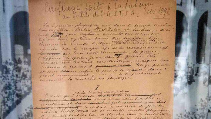 Le manifeste olympique de Coubertin vendu 8,8 millions de dollars (détail)