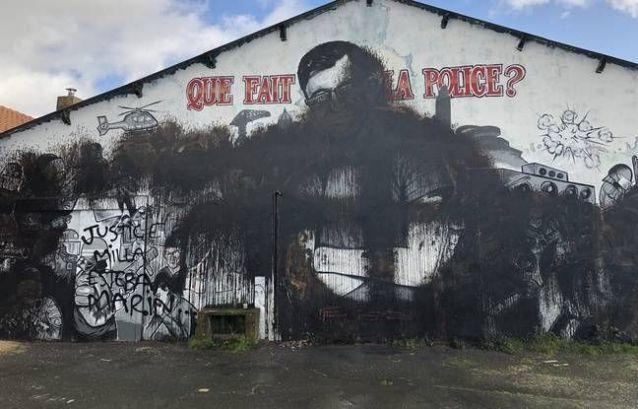 La fresque en hommage à Steve de nouveau vandalisée (détail)