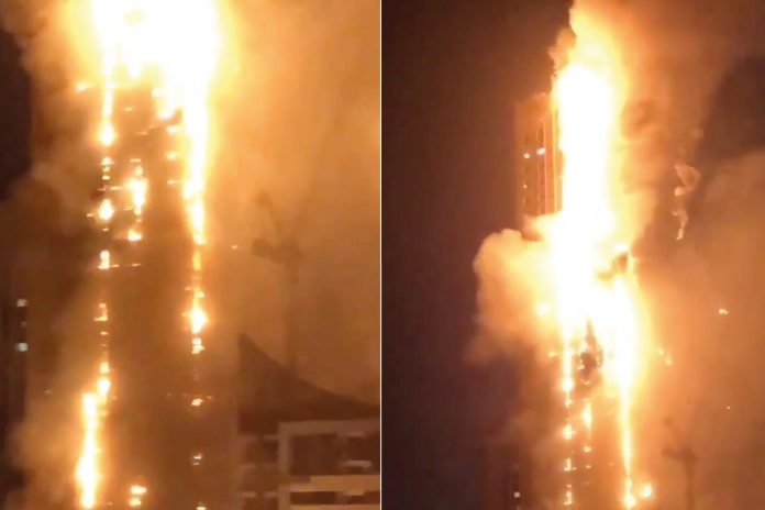 Un incendie ravage une tour de 49 étages aux Émirats Arabes Unis (Vidéo)