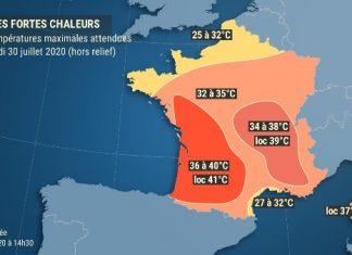 Canicule France : Pic de chaleur très intense, plus durable de la moyenne vallée du Rhône aux Savoies