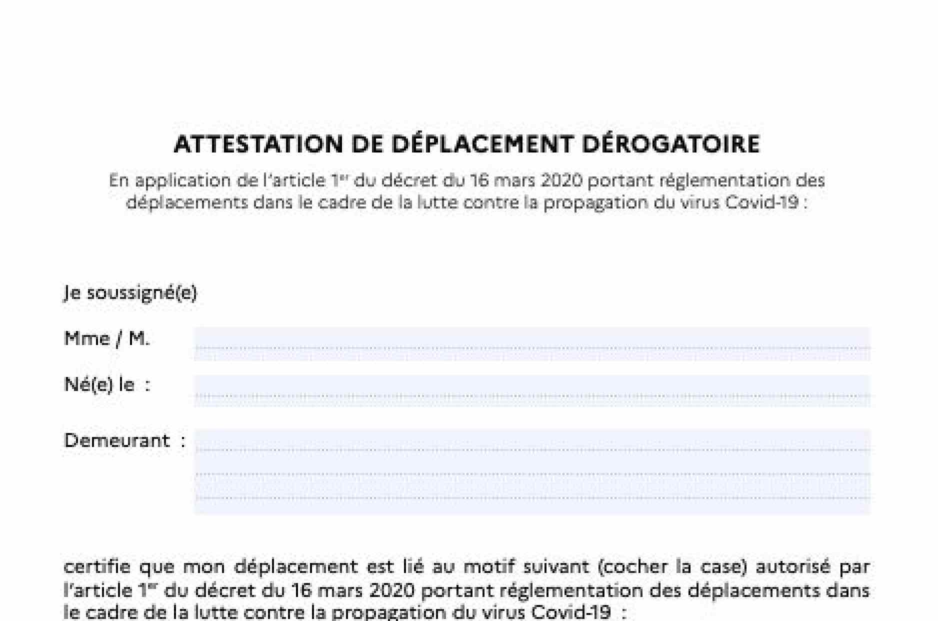Attestation Derogatoire Couvre Feu Ou La Telecharger Pour Effectuer Vos Deplacements Nocturnes Femmes News