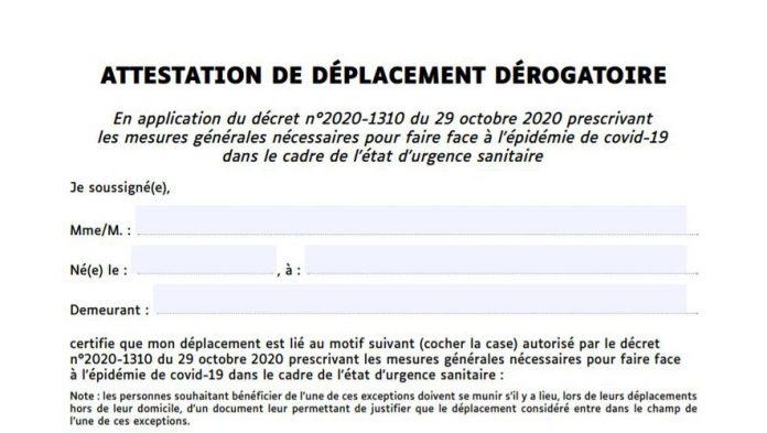 Attestation de sortie confinement : voici la nouvelle attestation de déplacement à télécharger ou à recopier