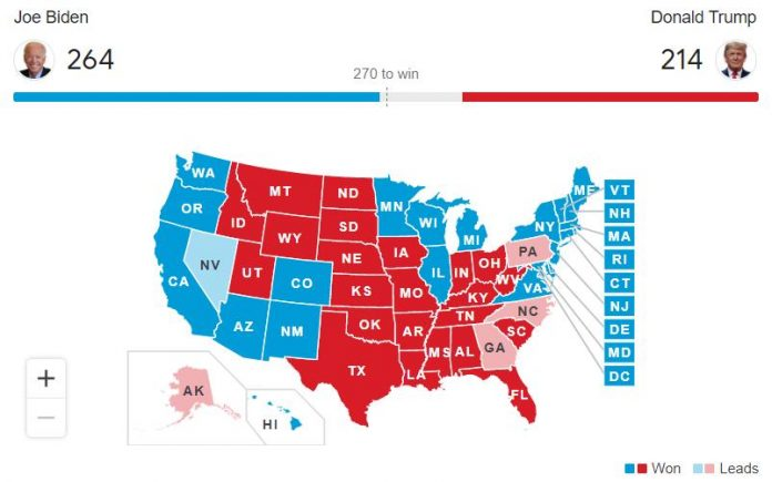 Elections américaines 2020 en direct : Encore 5 Etats doivent livrer leur verdict