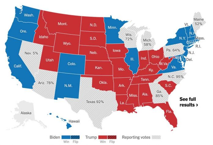 Elections américaines 2020 en direct : Les Etats encore en lice