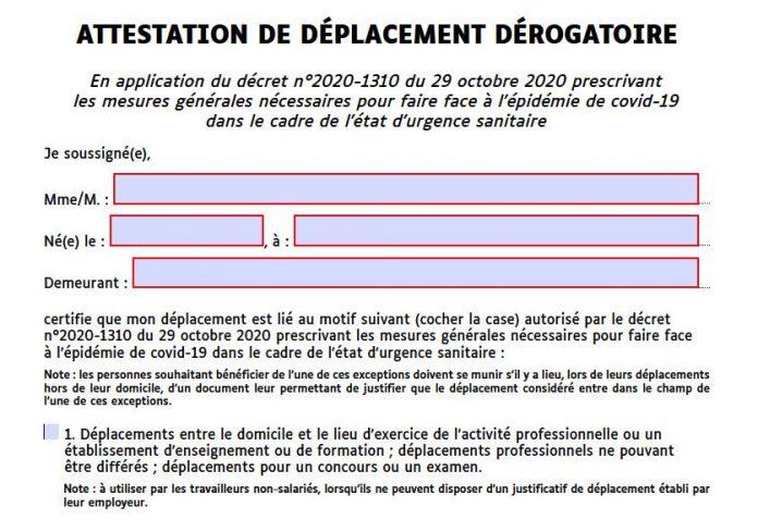 Attestation de déplacement dérogatoire : voici les nouvelles attestations nécessaires au 15 décembre