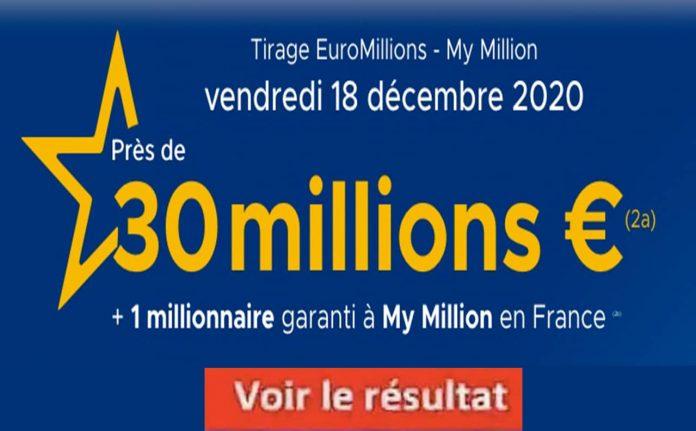Découvrez le résultat Euromillions du 18 décembre 2020 tirage FDJ