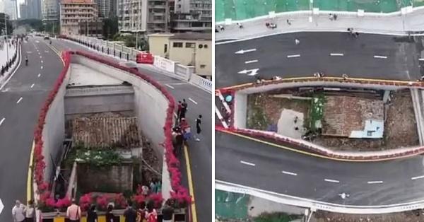 Chine :Elle refuse de déménager pendant 10 ans, l'autoroute est construite autour de sa maison