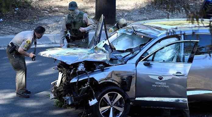 Le golfeur Tiger Woods gravement blessé aux jambes dans un accident de la route (détail)