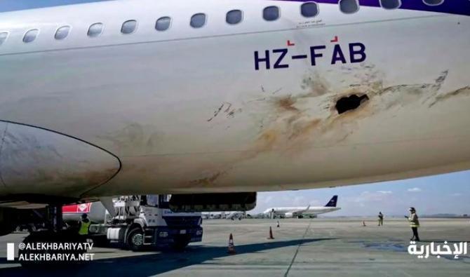 Un Airbus endommagé dans une attaque de drones (détail)