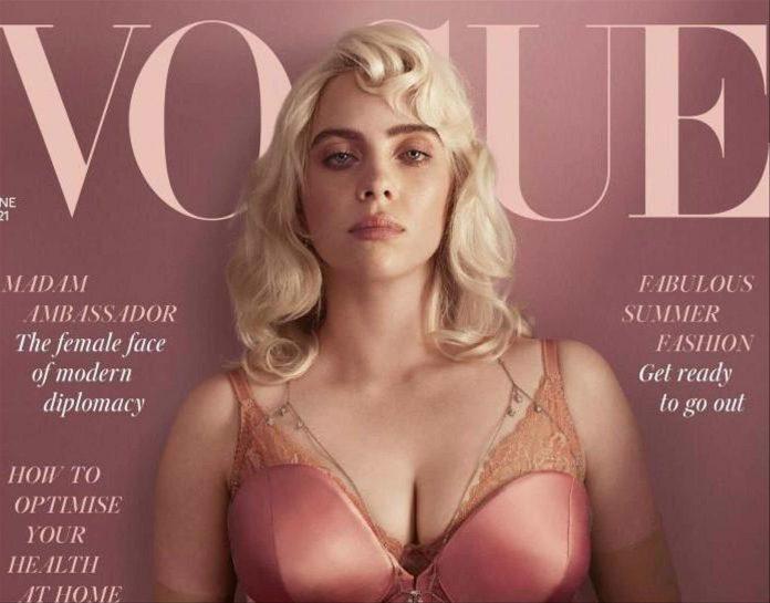 Billie Eilish se dévoile en lingerie, corset et porte jarretelles en couverture du Vogue UK (PHOTO)